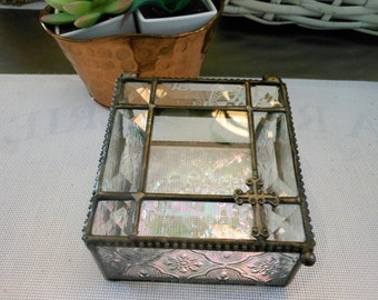 Small Vintage beveled glass box , pieced, with Cross, Easter gift