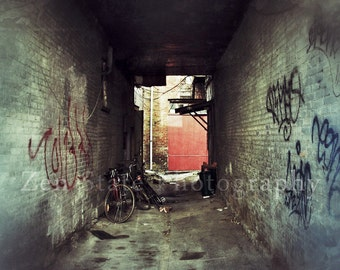 Urban Grunge Fine Art Print. Dark Alley Photography Print. Urban Art Photo. Grunge Art. Canvas Print, Unframed Photography, Framed Prints