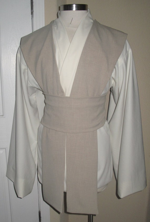 Off white poly twill Jedi tunic,beige poly suiting tabards & sash/obi, 4 pcs costume