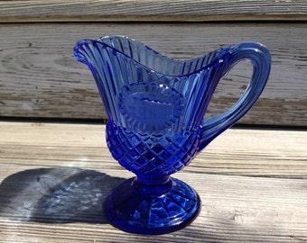 Vintage Blue Cobalt Glass Creamer Avon Mount Vernon US Bicentennial