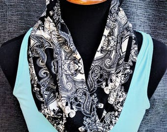 Paisley Scarf, Black and Cream Scarf, Printed Scarf, Paisley Infinity Scarf, Fashion Scarf, Circle Scarf, Paisley Circle Scarf, Loop scarf