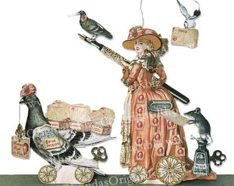Digital Marie Antoinette Greeting Card Or Valentine Decoration Paper Doll - Royal French Postal Worker, Mouse Carrier Pigeon MA6V