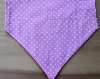 Pink and white polka dot print summer Dog Bandana, designed especially for your pet