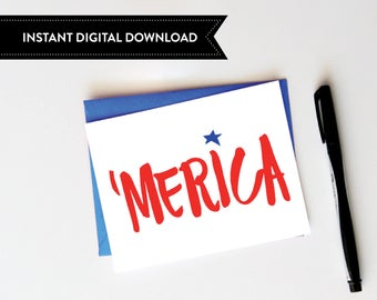 merica card, 4th of july, digital download, printable card, patriotic card