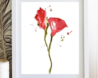 Red Rose PrintFlower Print Watercolor PaintingFlower Illustration Single Art Floral