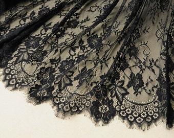 black chantilly lace fabric