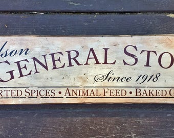 Rustic wooden sign 'General Store' (Customizable)