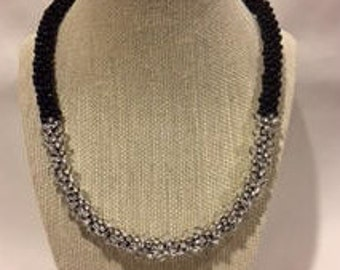 Black and Crystal Kumihimo Necklace