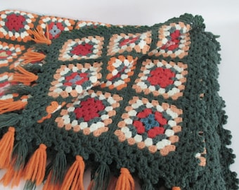 Crocheted Afghan Throw Granny Squares Lap Blanket Green Orange Wool Blend