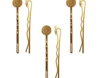 Golden Bobby Pins with 8mm glue pads