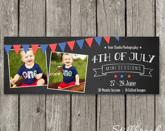 4th of July Timeline Cover Photo - Facebook Mini Session Template - Independence Day Banner - TC11