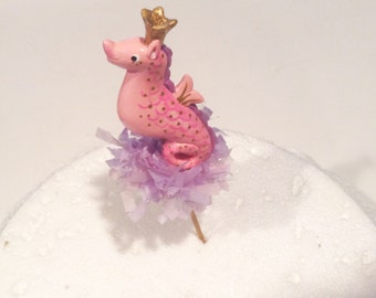 Purple/Pink Sea Horse Cake Topper/ Nautical Theme
