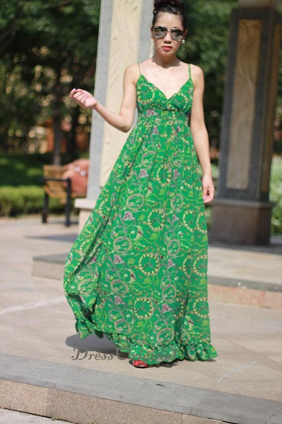 Sommerkleid Maxi Kleider Jadegrün Riemen langes Kleid