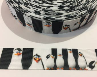 3 Yards of Ribbon - Black and White Penguins 7/8 inch Wide