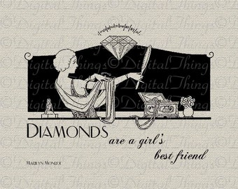 Quote Diamonds A Girls Best Friend Hollywood Printable Digital Download for Iron on Transfer Fabric Pillow Tea Towel DT592