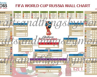 2018 FIFA World Cup Russia Wall Chart - Printed Poster