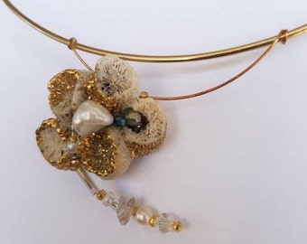 Unique Coral Pendant / Necklace with Beads And Imitation Gold Leaf
