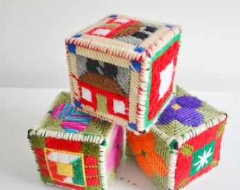 Vintage Sensory Blocks Multicolor Cube for Babies