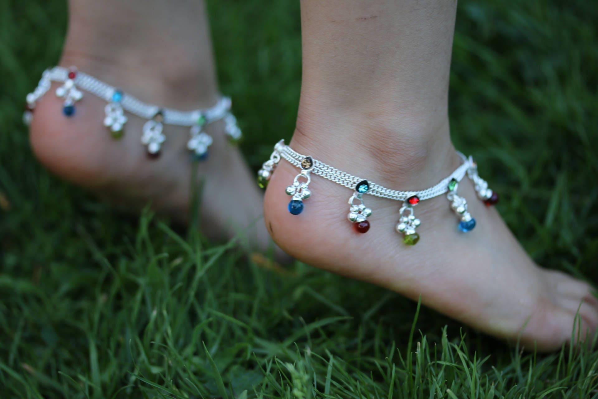 Stunning Anklet Multi coloured Gems Anklet bells Bollywood