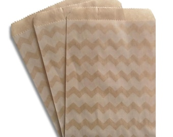 100 Kraft and White Chevron Paper Bags, 4 x 5 1/4 inches, Flat Favor Bags