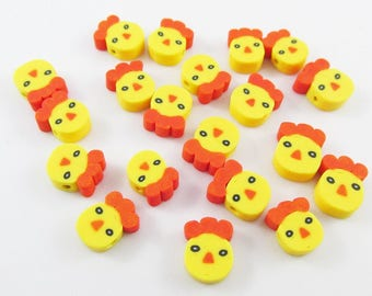 20pcs Chicken Head Bead Polymer Clay 9-10x7mm Hole 1mm