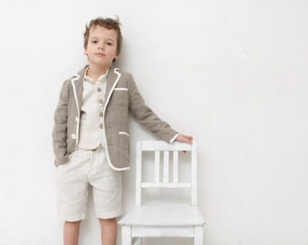 Boys clothing Boys natural linen blazer Toddler boy jacket Rustic wedding Baptism outfit Ring bearer suit Boys clothing