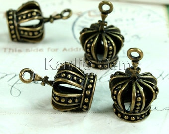 Brass Crown Charms 3D Antique Bronze Victorian Style