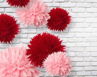 Tissue Paper Pom Pom - Valentine's day decor - Set of 18 Tissue paper Pom Poms