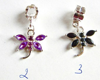 Silver Dragonfly Big Hole Bead, Rhinestones