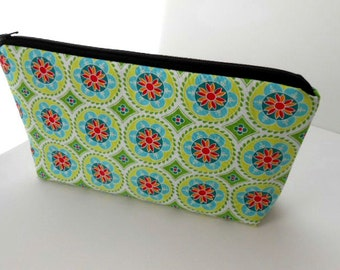 Large Cosmetic Zipper Pouch Large Padded Cosmetic Bag Flat Bottom Zippered Pouch Clutch ECO Friendly Green Madhuri Medallions