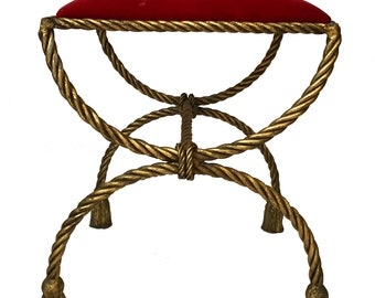 Hollywood Regency Italian Gilt Rope and Tassel Bench - Gilt Rope Bench, Gilt Tassel Bench, Rope Bench, Tassel Bench, Gilt Bench, Gilt Stool,
