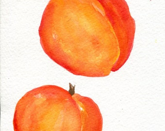 Peaches Watercolor Painting original, Fruit art, peaches painting 5 x 7 watercolor of peaches, small kitchen decor, peaches wall art