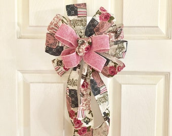 Burlap Linen bow with Vintage Pink Rose and Butterfly Design Wired - Lantern, Bannister, Party Decoration