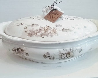 Brown Transfer Ironstone Covered Vegetable Dish