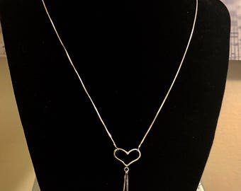 Beautiful  Sterling Silver Heart And Freshwater Pearl Necklace, gift for her.