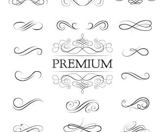 Swirl calligraphic set SVG | Premium | Vector ornament design | Swirly line | Digital cutting file | Ornate frame elements | Decorative