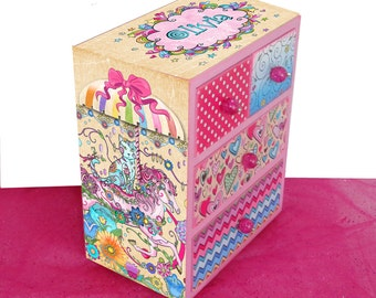 Girls  Personalized Jewelry Box Designed with Your Coloring Page Carousel Cat