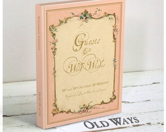 French Vintage Guest Book in Pink - Traditional Wedding Guest Book - Personalized - Any Occasion, More Colors Available