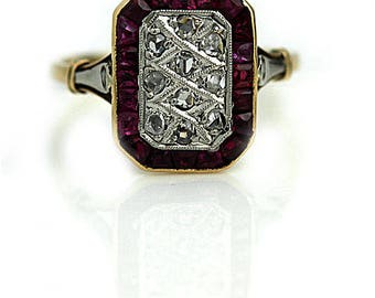 "Antique Ruby Engagement Ring Victorian Ruby .50 Rose Cut Diamond in Platinum 18k Rose Gold "" The Pietra"""
