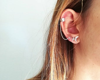 Ear Cuff Chain • Silver Ear Cuff Chain • Dainty Chain Ear Cuff Earrings • Single Earcuff • Minimal Ear Cuff • Gift for Women • Gifts for her