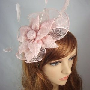 Pale Pink Sinamay Corsage & Ruffle Fascinator - Occasion Wedding Races