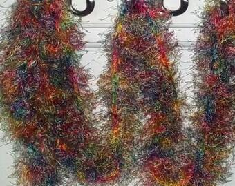 Rainbow Fuzzy Wuzzy Long Skinny Crochet Scarf