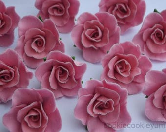 12 edible SMALL ROSES 3cm cupcake cake topper decorations sugar flower blossom wedding anniversary birthday engagement christening chic