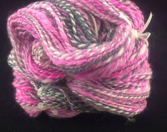 Pinks & Greys Hand Spun Merino Art Yarn