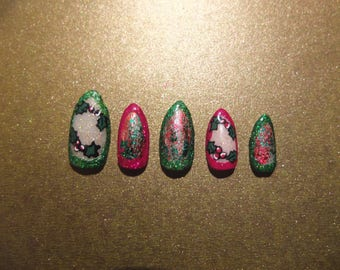 Extra Xmas Set | Xmas Collection Christmas Holly Foil Press on Nails