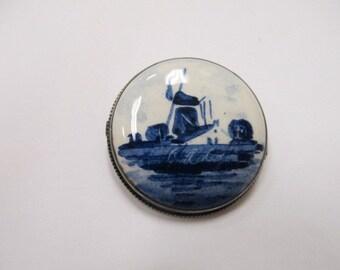 Vintage Sterling Silve Delft Pin Item W # 378