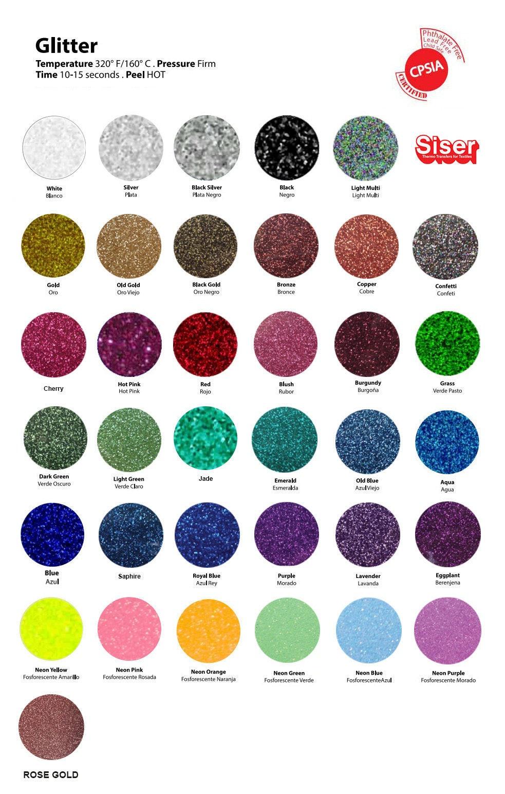 5 Sheets Siser Glitter Heat Transfer Vinyl 10 X