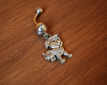 Silver dog belly ring,  transparent bead animal belly button jewelry, delicate small simple navel piercing, animal lovers gift idea