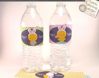 Easter Water Bottle Labels , Printable Easter Party Favors, Easter bunny wrappers with owl, bunny and chicks in pink, mint, green, yellow