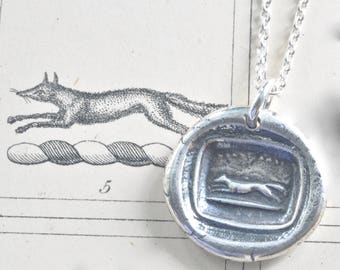 fox pendant - fox wax seal necklace - hark away … wisdom and wit - sterling silver antique hunting wax seal jewelry